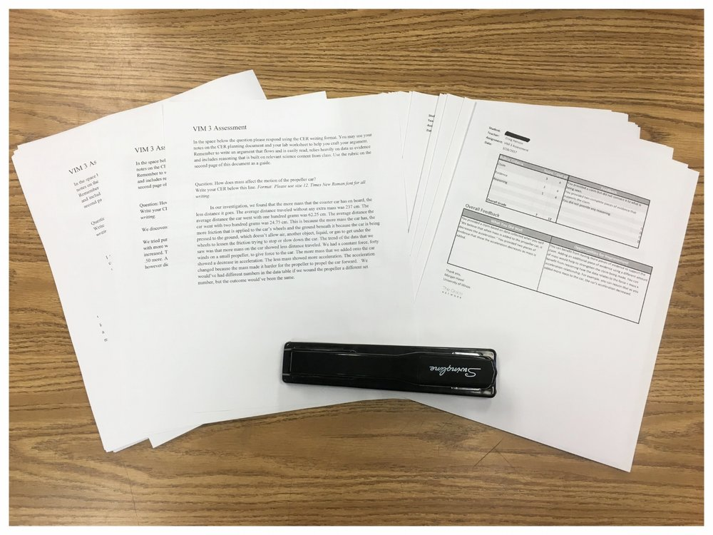 """When the score reports are returned I print them and hand them back to students either attached to their printed work or as the stand-alone individual score report."""