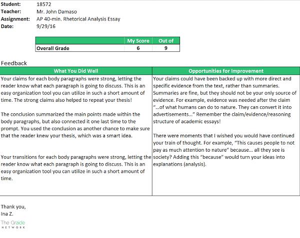 Student Feedback Report Sample #1