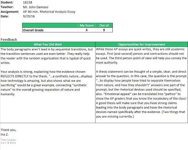 Student Feedback Report Sample #2