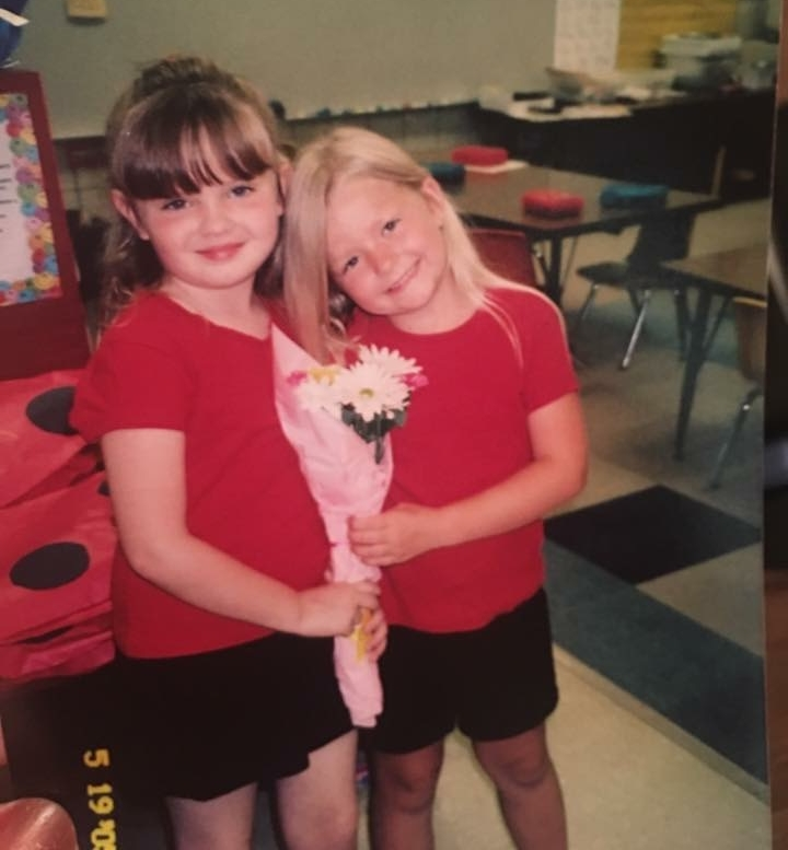 Rachel and Shelby together in their kindergarten classroom <3