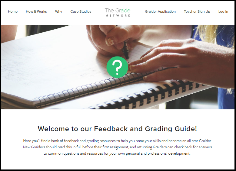Read about our standards and best practices for  feedback and grading  here! This will be critical to your success and give you tools to address special grading circumstances.