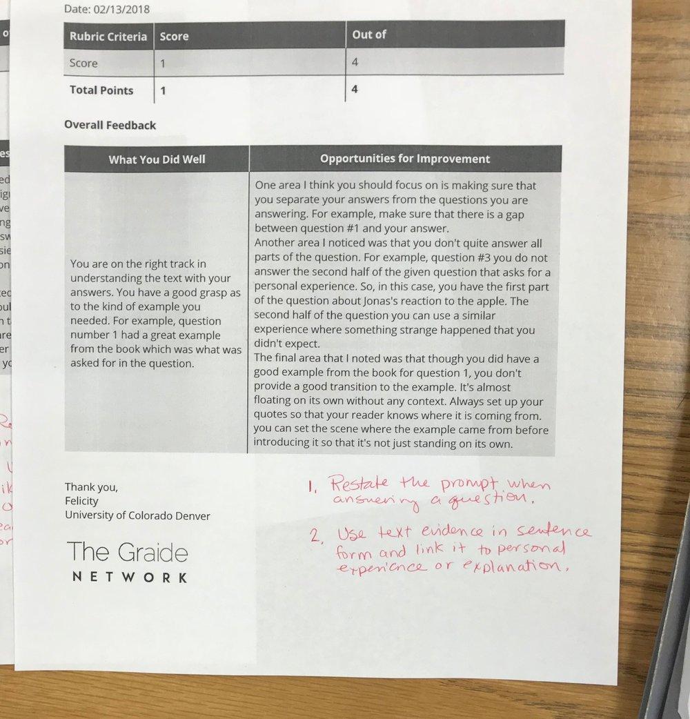 Using feedback to set writing goals!