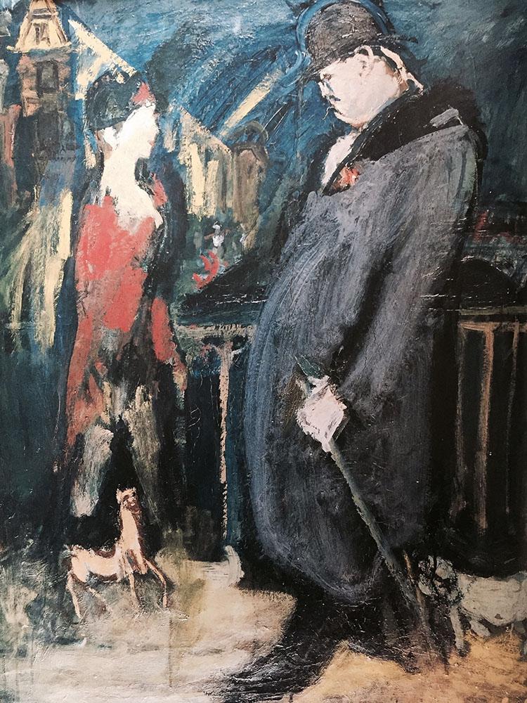 Street Encounter. 1932. Oil.
