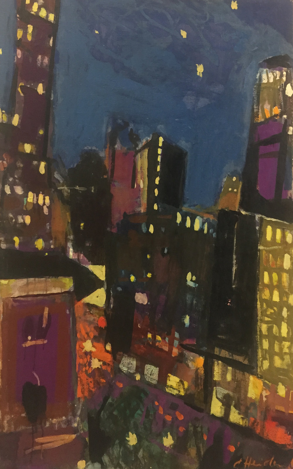 Untitled (Cityscape). N.d. Oil on canvas.