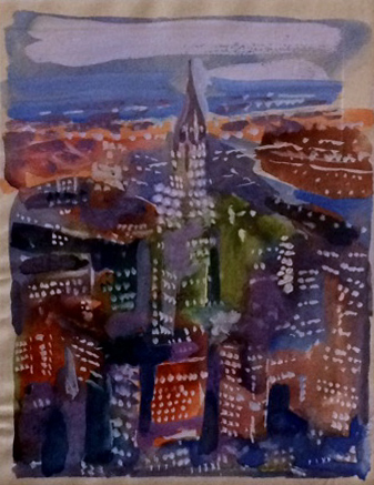 Unknown (Miniature New York Skyline). N.d. Watercolor on magazine.