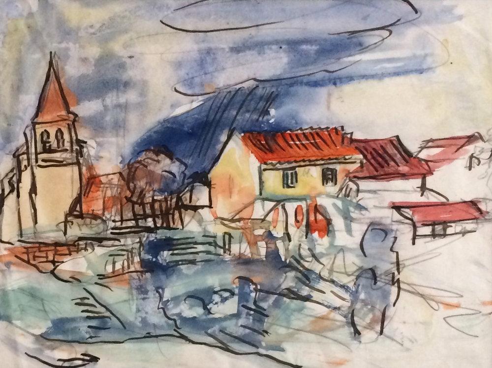 Unknown (Spanish Village). Ca. 1934. Watercolor.