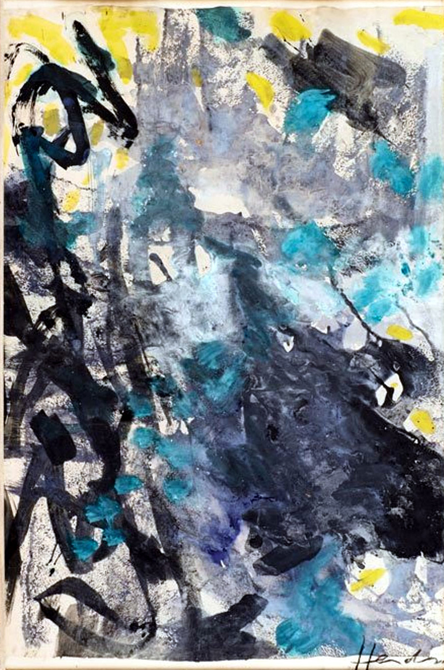 Unknown (Blue and gray abstract). N.d. Watercolor and gouache.