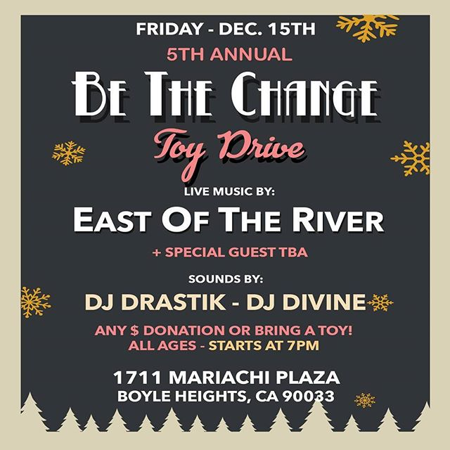 Tonight! Stop by. Bring a toy. Chop it up with the @eotrnetwork got special guest performing. Its FREE! In #boyleheights