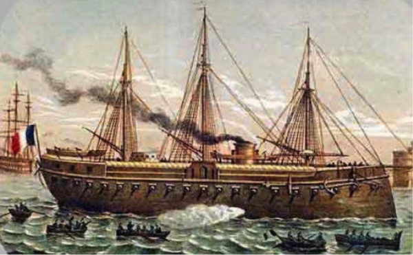 This painting of the French Ironclad - Gloire - is a fine example of how naval crews were protected from enemy gun-fire.