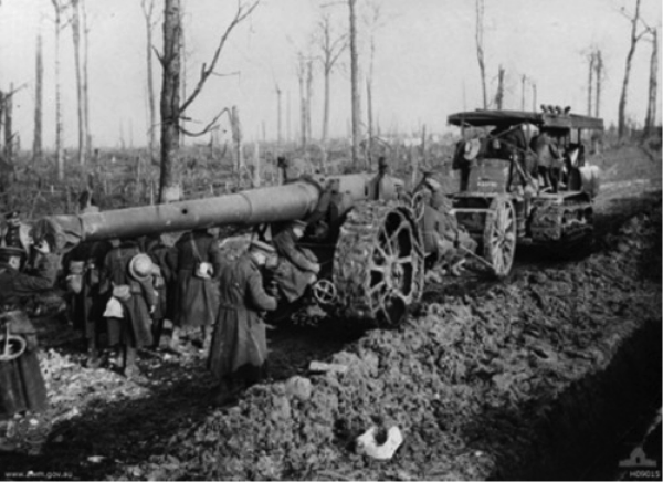 Allied Heavy Artillery under Tow - Trones Wood circa 1917 - image courtesy of the Australian War Memorial - Canberra.