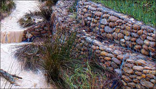 Gabions. Image courtesy of http://www.gabionbasket.org/gabions/river-bank-protections.html
