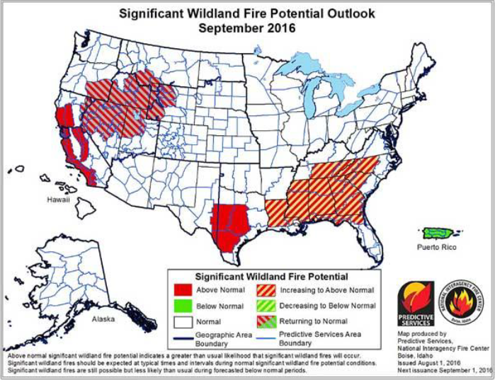 The September wildfire outlook issued on 1st August 2016 – no end in sight for Western USA. Image courtesy of  National Interagency Fire Center