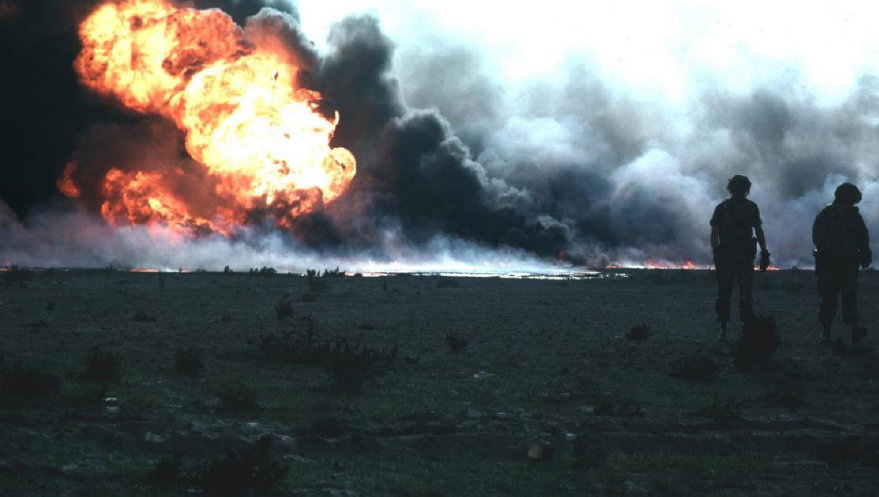 Smoke plumes from Kuwaiti oil well fires in April, 1991- image courtesy of  Wikipedia