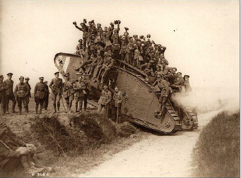 GEN Monash used British Mark V tanks to break through the Hindenburg in 1918 –  image courtesy of Pinterest.com