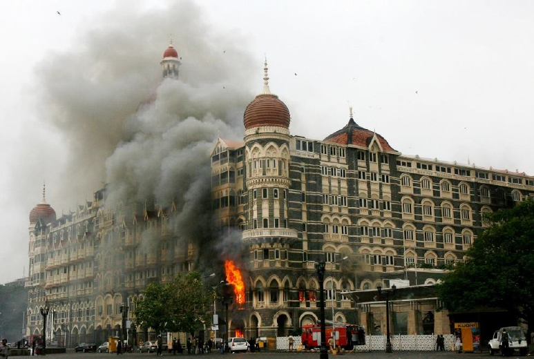 The luxurious Taj Mahal Palace and Tower Hotel – one of multiple sites hit in the November 2008 pyro-terrorist attack on Mumbai – image courtesy of  The Daily Beast