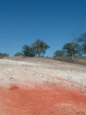 Image of Burning Mountain, NSW. This is the  oldest known underground coal fire  in the world. A coal seam has been burning here for an estimated 6,000 years.