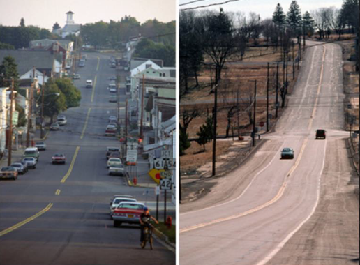 The  main street in Centralia, PA , then and now.