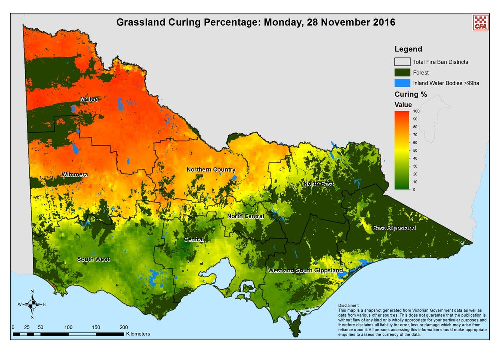 This grassland curing map of Victoria is provided by the VIC CFA. It also displays Total Fire Ban districts and will be extremely useful in the coming bushfire season. Image courtesy of CFA Victoria