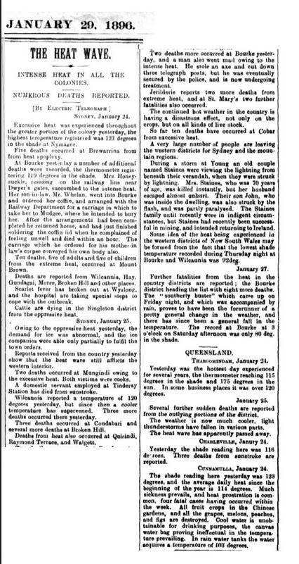Article from The Warwick Examiner dated 29 January, 1896