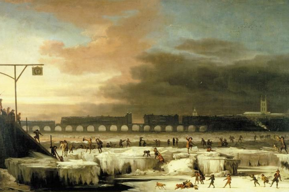 """The Maunder Minimum resulted in a mini-ice age during a solar quiescent period from 1645 - 1715. This 1677 painting, """"The Frozen Thames"""" by Abraham Hondius shows Londoners enjoying themselves during this period."""