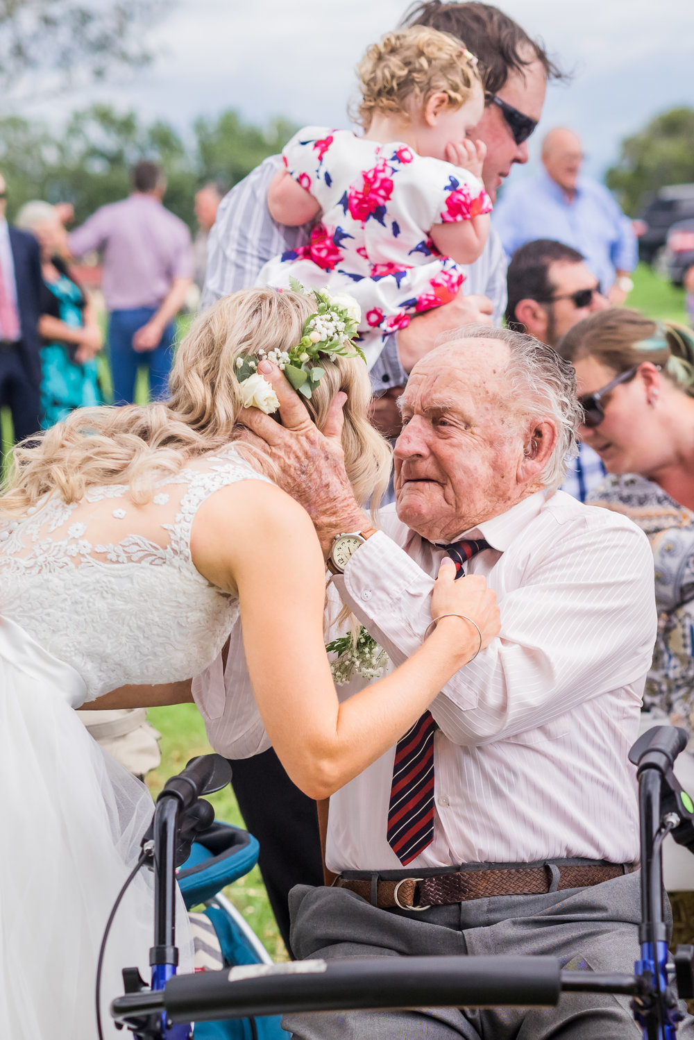 - A precious embrace with your 90 year old grandfather who left his hospital bed to be there on the most important day of your life...Every time I point my camera at an elderly VIP guest at your wedding, I have in the back of my mind that this could be the last photo of that special person that's ever taken.