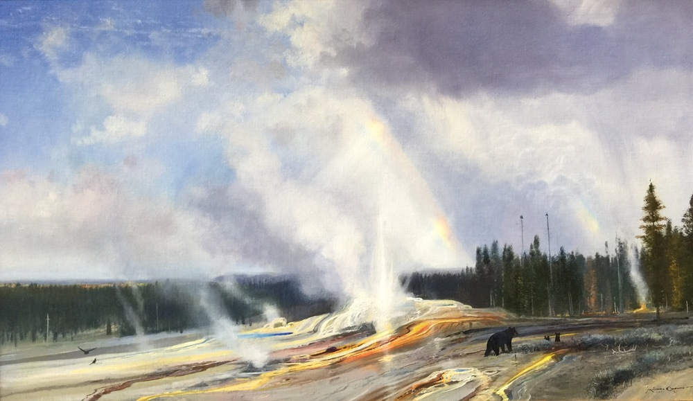 """Upper Geyser Basin - Steam and Clouds"" 21x36 oil on linen"