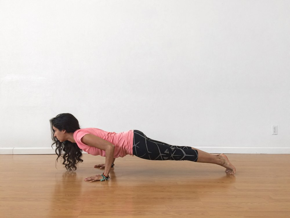 low plank push up yoga pose
