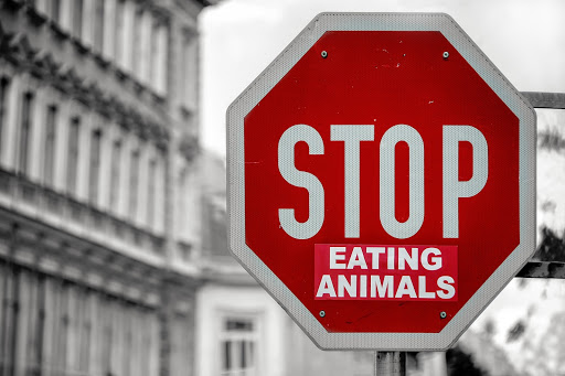 Red stop sign that reads Stop Eating Animals