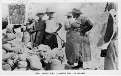 Women bagging salt in the early 1900s