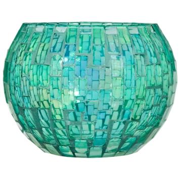Green Glass Mosaic Votive Holder