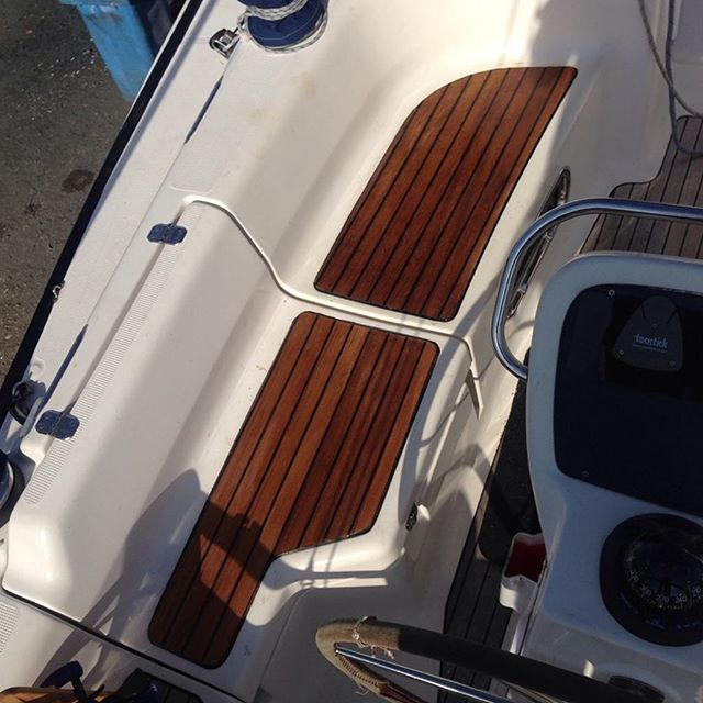 Teak seats installed in the cockpit of a Bavaria 34! #woodworking #teak #shipwright #alkiraboatshed #bavariayachts