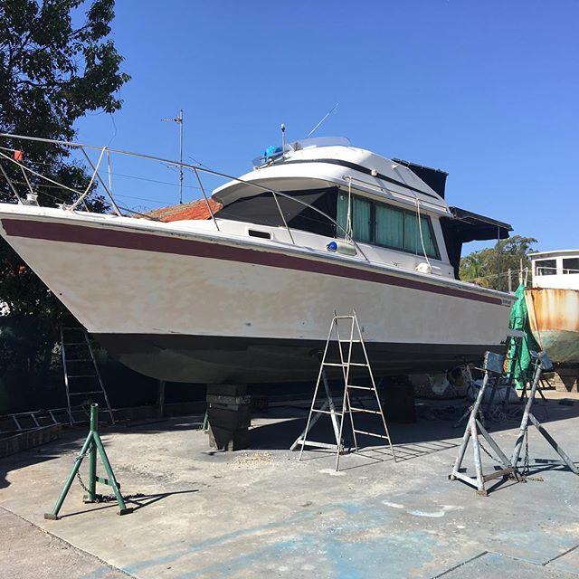 Launched today the freshly sprayed Riviera 30'. #fresh #jotun #alkiraboatshed #shipwright