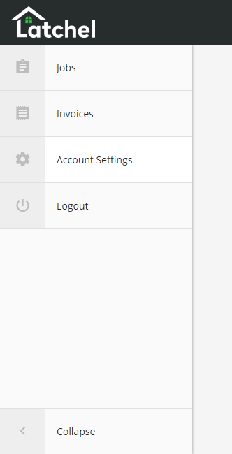 Expanding the menu gives you a better view of what the icons represent. Here you'll see Jobs, Invoices, Account Settings and Logout.