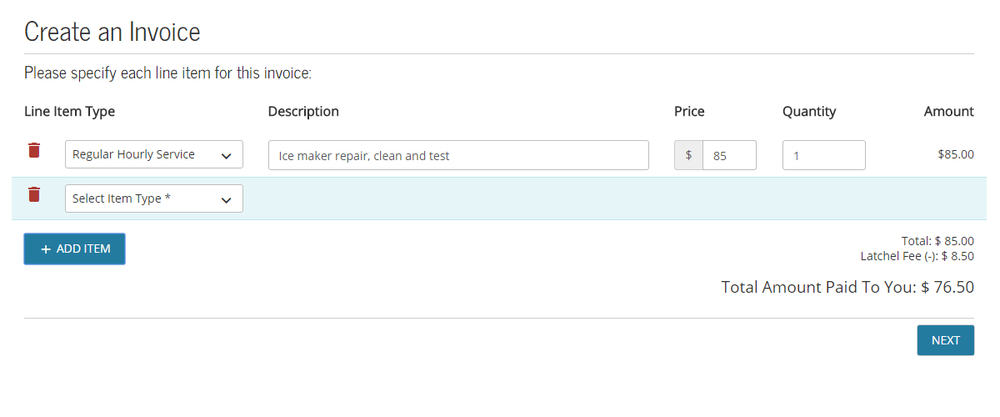 Click + Add Item to add more, as many as you need to complete the invoice.