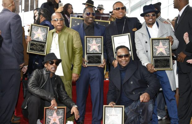 New Edition receiving their star on the Hollywood Walk of Fame