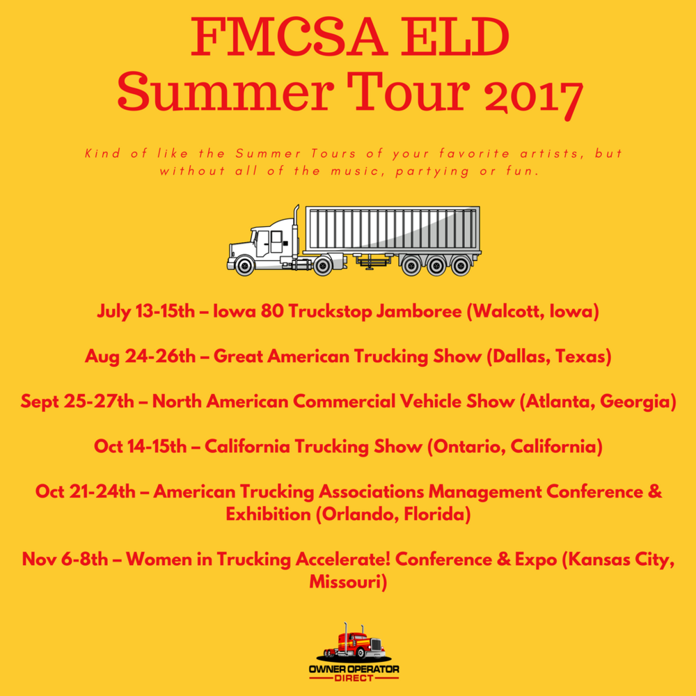 The FMCSA is going on tour to educate truckers on the ELD Mandate