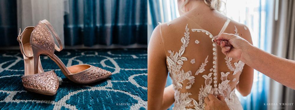 Wedding Day Rose Gold Heels & Dress
