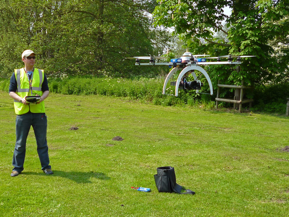 HexCam Octocopter being launched to carry out aerial video capture