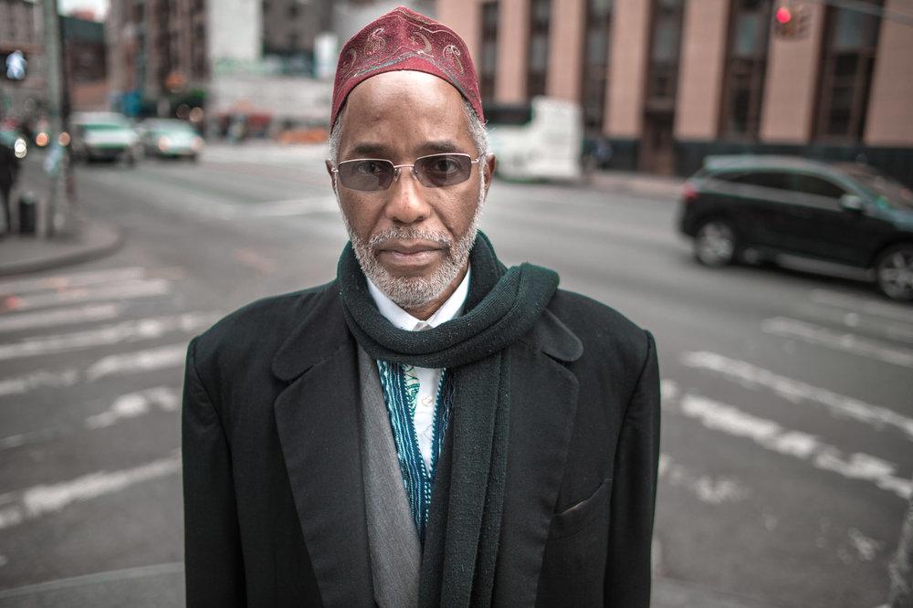 Jabal Abdur Rahman , who converted in the '70s, on the Canal Street sidewalk.