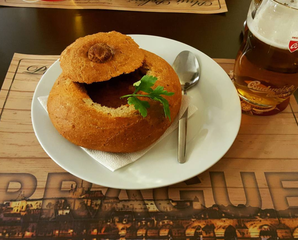 Czech goulash served in bread