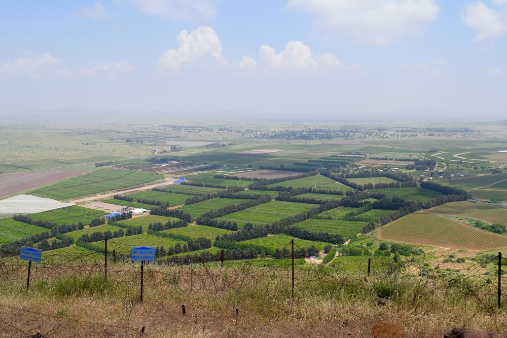 View from Mount Bental of the Israeli and Syrian borders