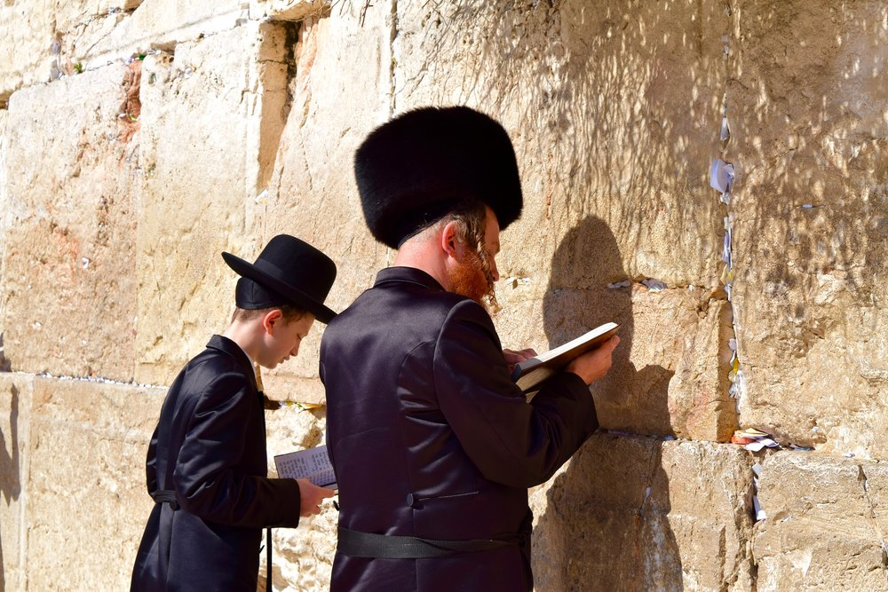 Orthodox Jews praying at the Western Wall