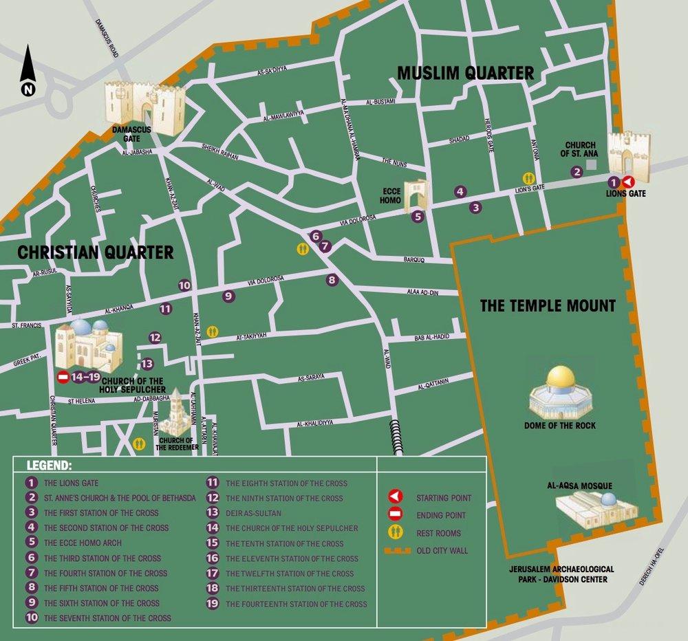 Mapa  de la Via Dolorosa (haz click para ampliar) - Cortesía  de  © tour-man.com