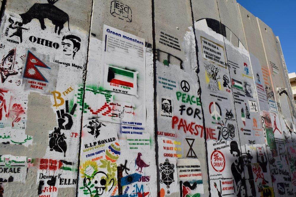 Graffiti Belén Paloma de la paz Banksy Muro del apartheid Belén Palestina Cisjordania