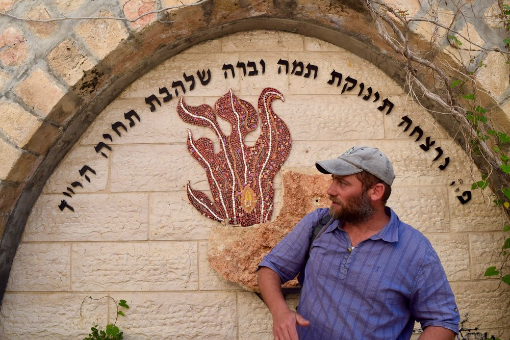 Our guide Gabriel in the memorial of Shalhevet Pass, Hebron