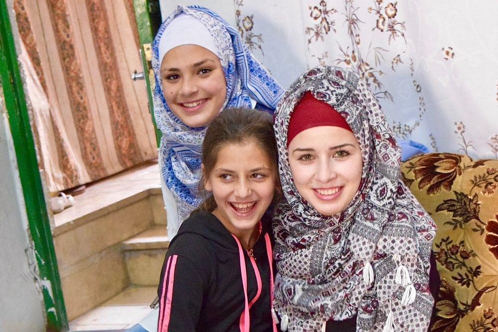 Familia palestina en su hogar