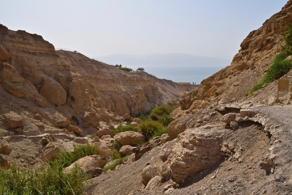 View from Ein Gedi with the Dead Sea in the background