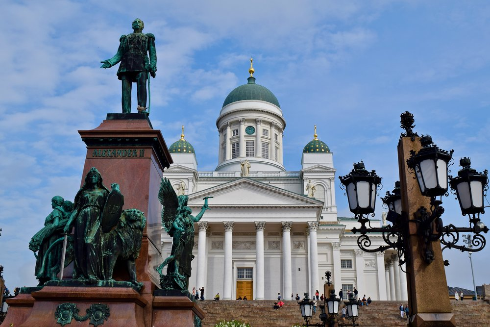 Statue of Emperor Alexander II and Helsinki Cathedral