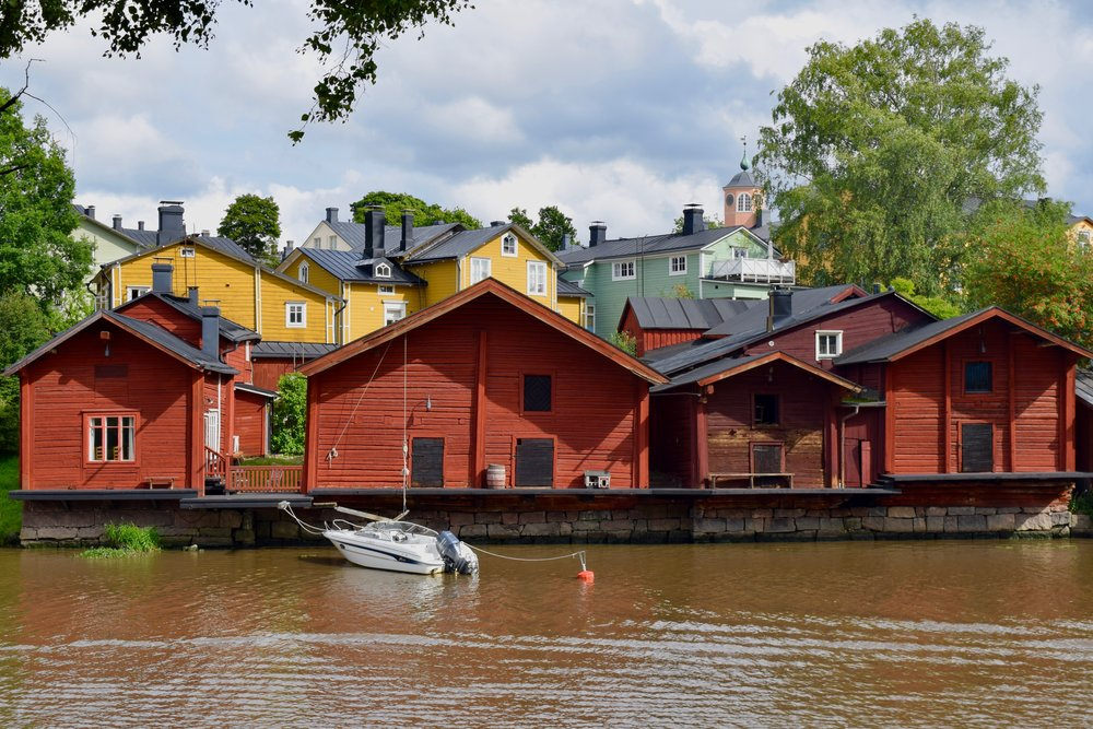 Red houses on the riverbank