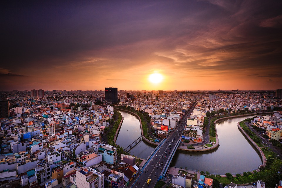 The magnificent Ho Chi Minh cityscape at sunset